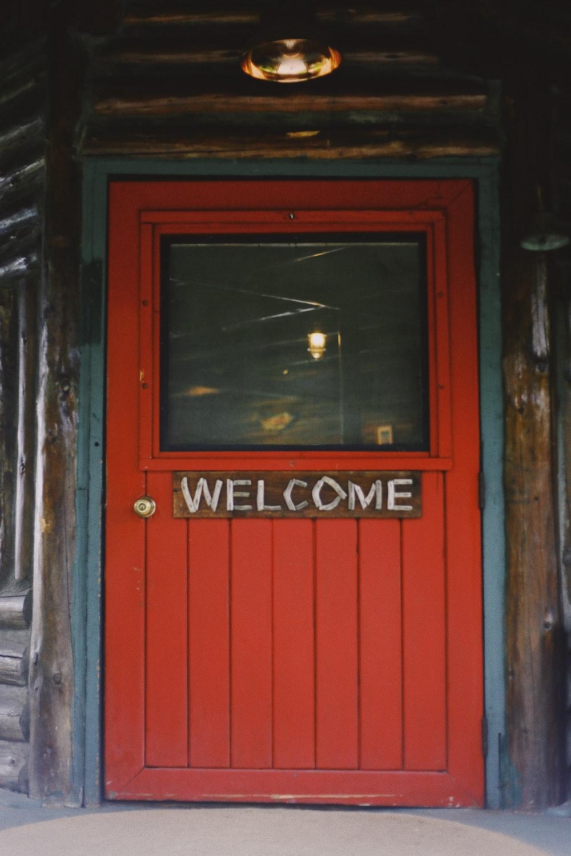 red wooden closed door