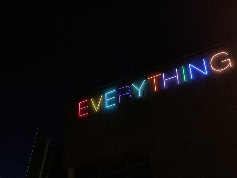 powered-on assorted-color everything neon signage
