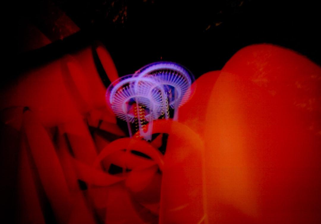 Double exposure of space needle on film