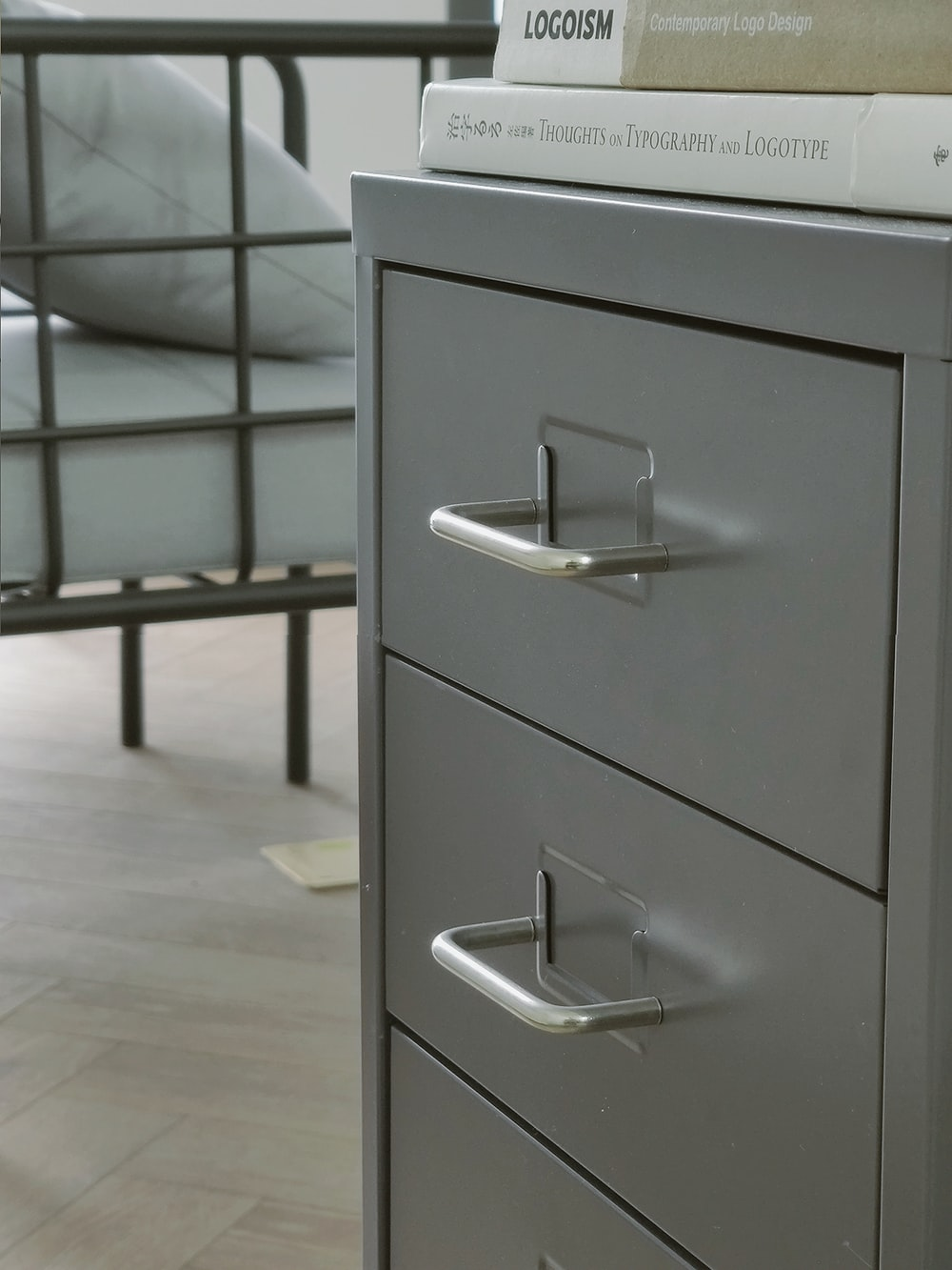 white filing cabinet
