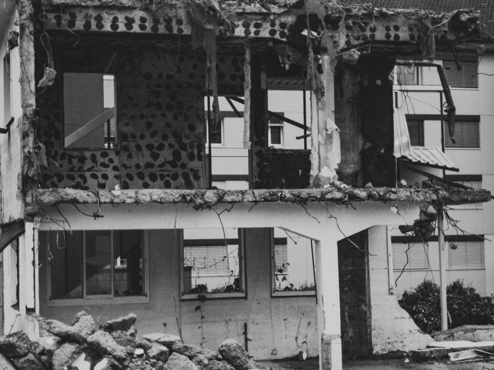wrecked building after earthquake