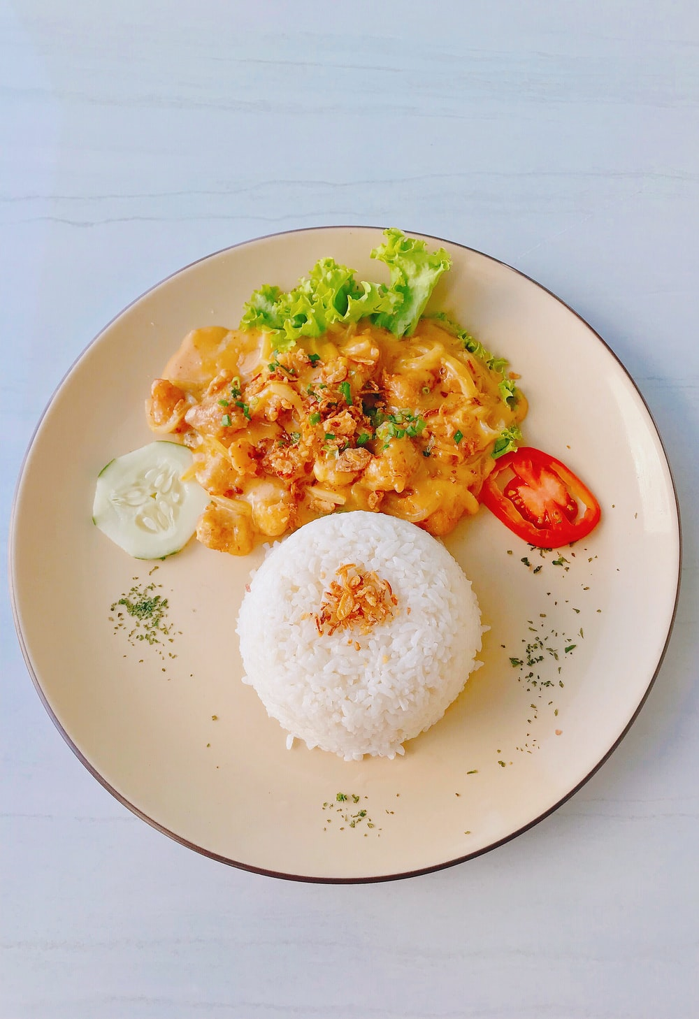 cooked rice with egg