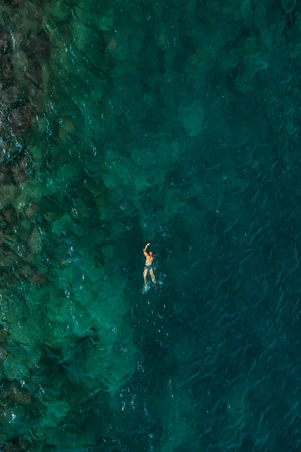 bird's-eye photography of person on body of water