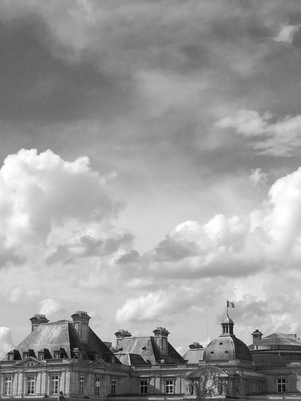 grayscale photo of dome buildings