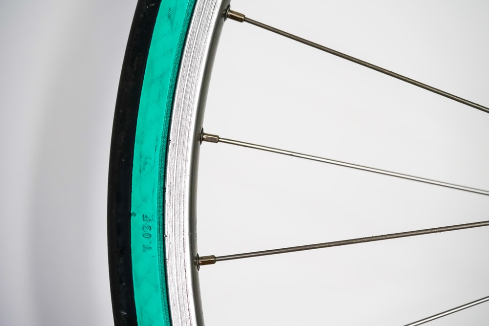 gray multi-spoke bicycle rim