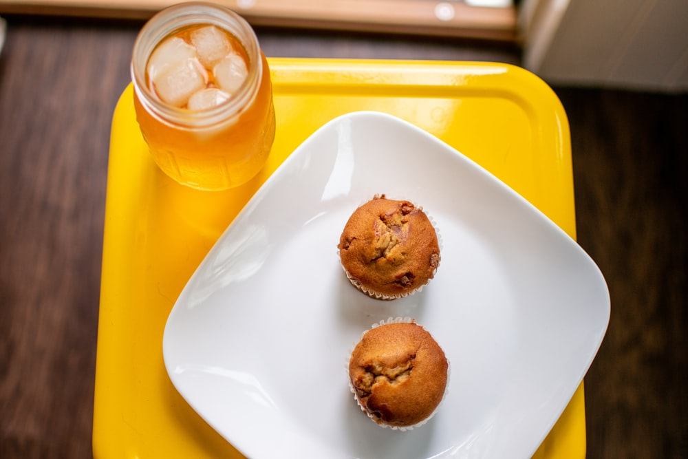 two cupcake on plate