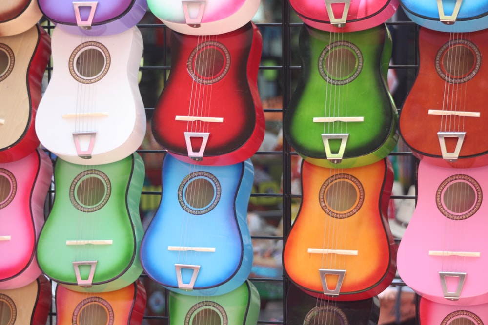 assorted-color acoustic guitar lot