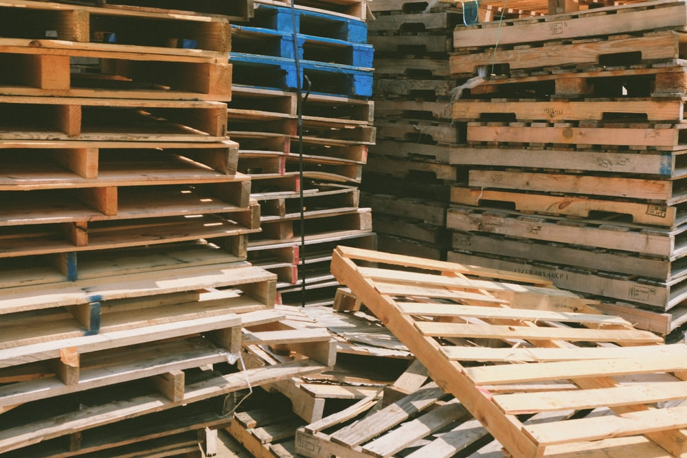 brown wooden pallet lot