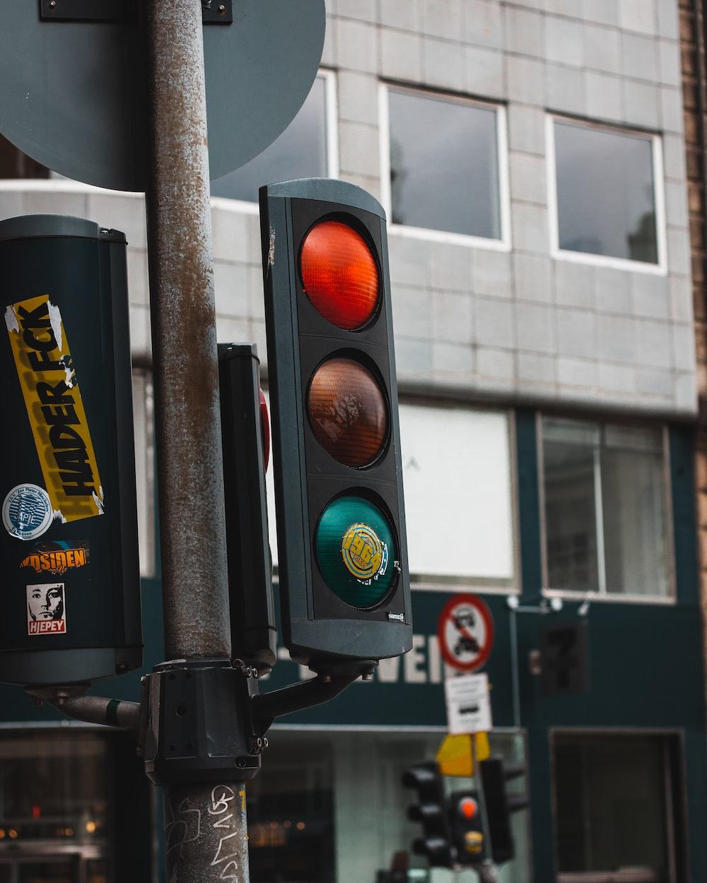 multicolored street lights