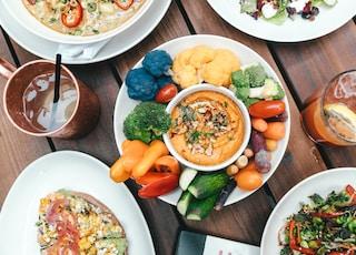 vegetable platter with dressing