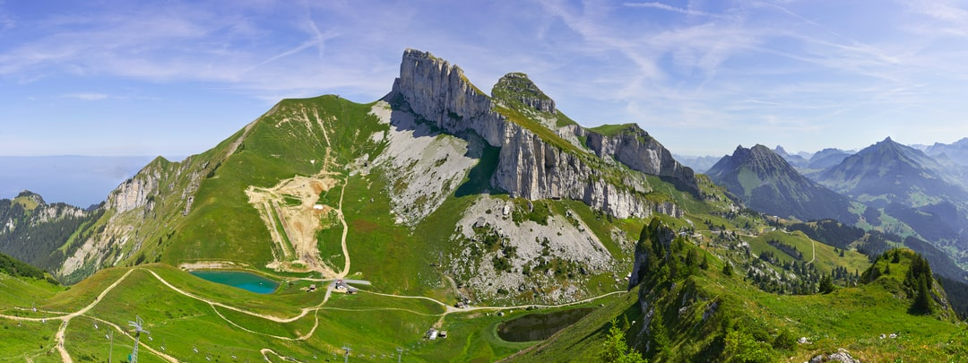 Panorama featuring Tour d'Aï and Tour de Mayen in the Swiss Prealps. Seen from the Berneuse.