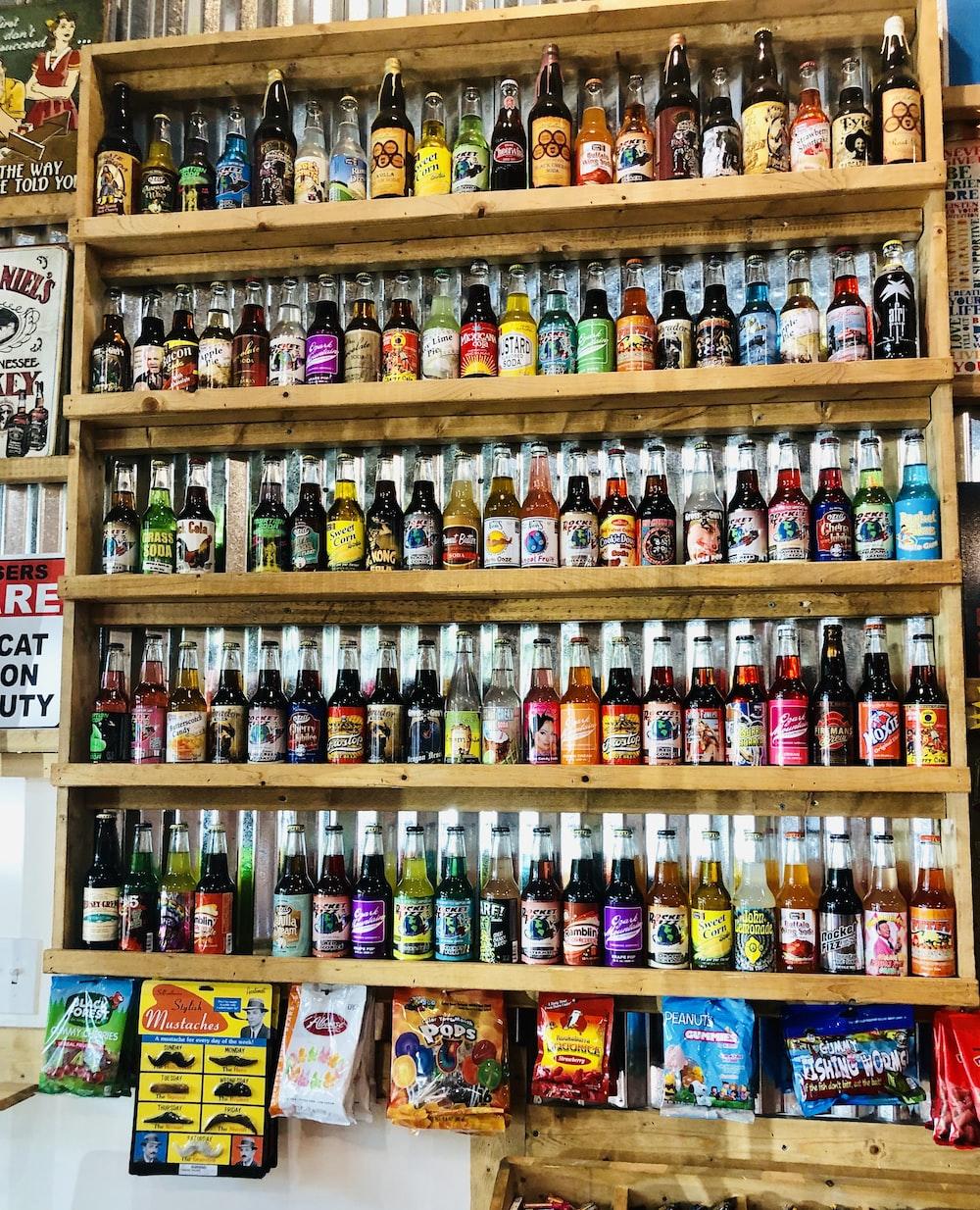 assorted-color labeled bottle lot