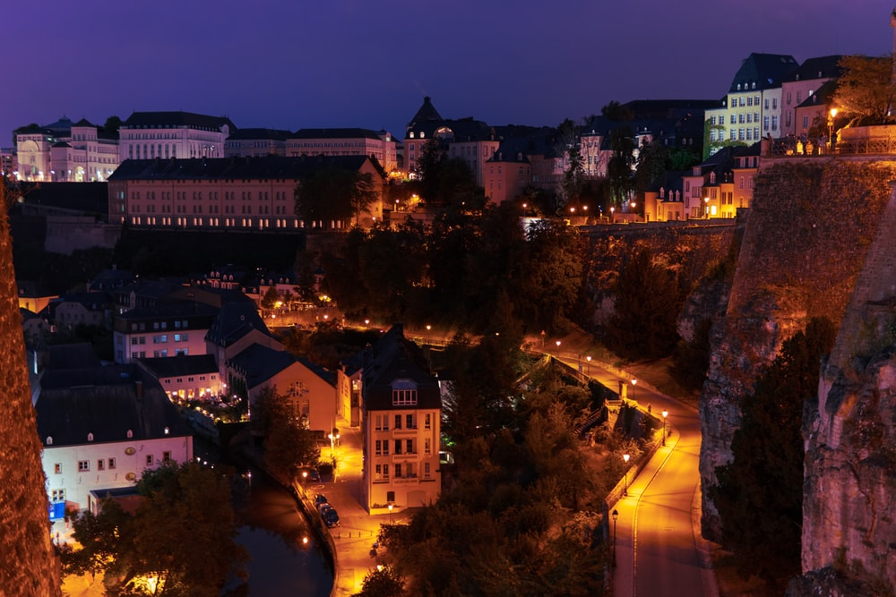 town during nighttime