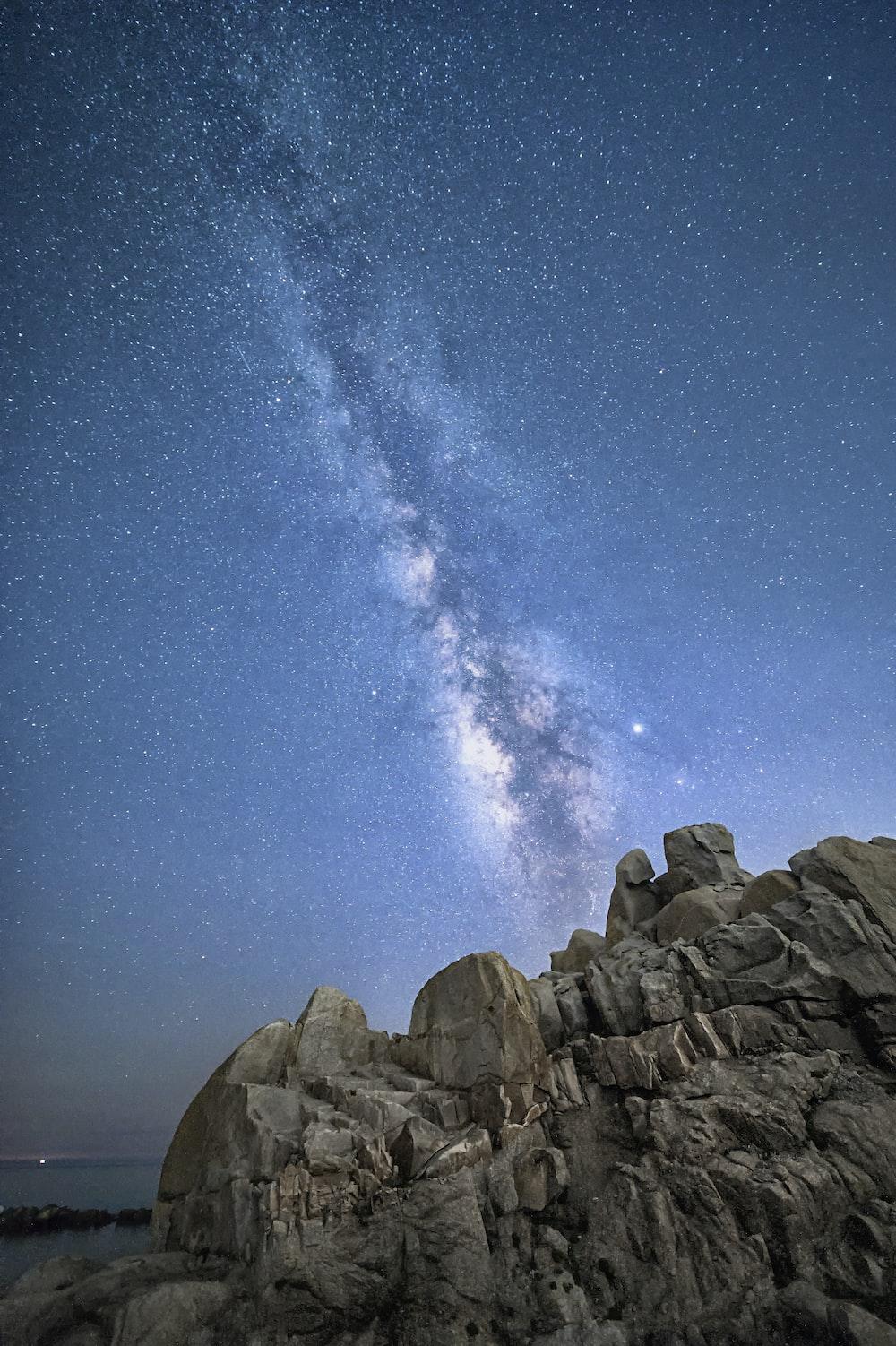 rocks under galaxy