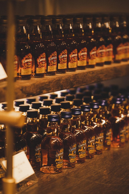assorted labeled bottles
