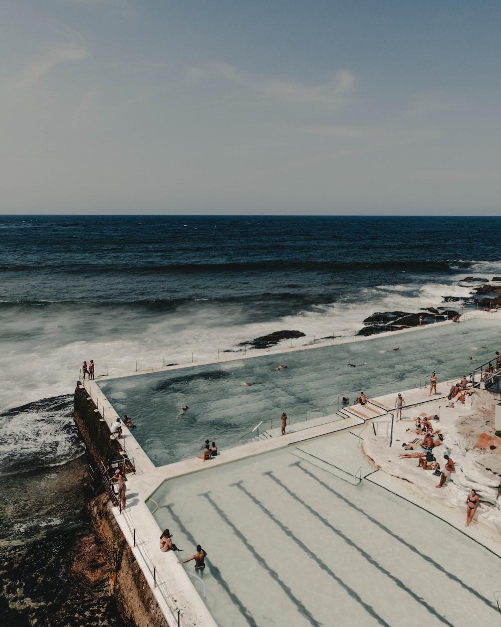 group of people near pool