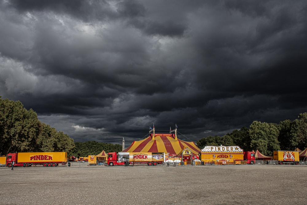 circus underneath cumulus clouds