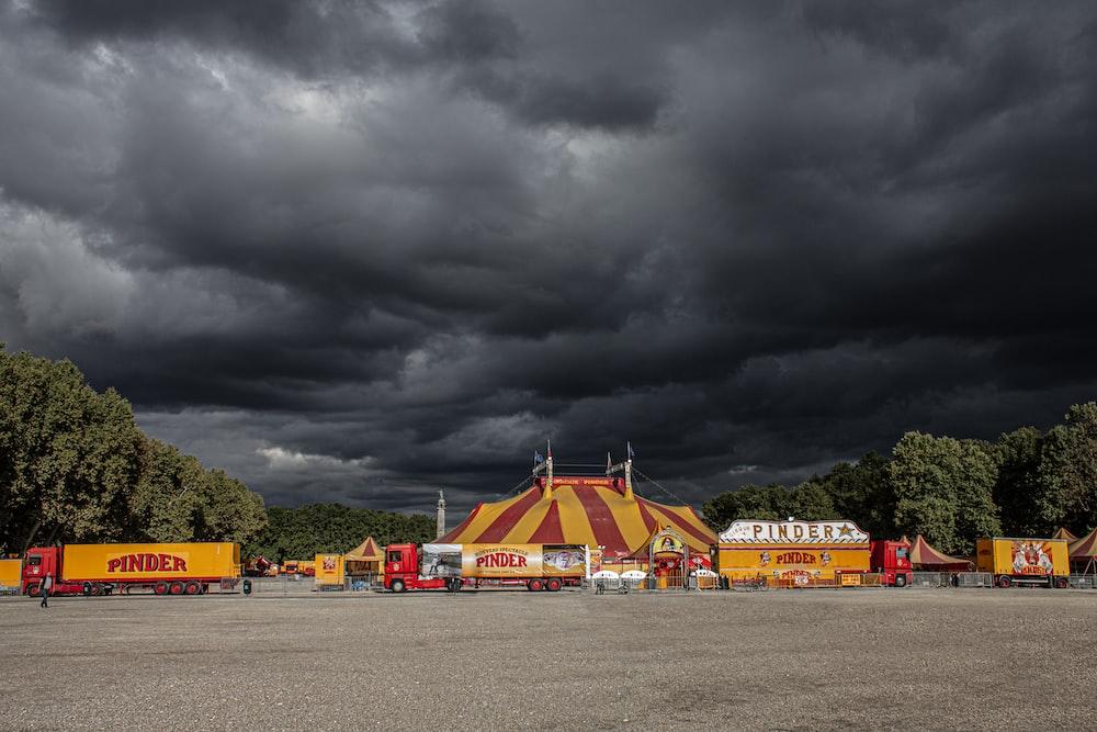 circus underneath cumulus clouds