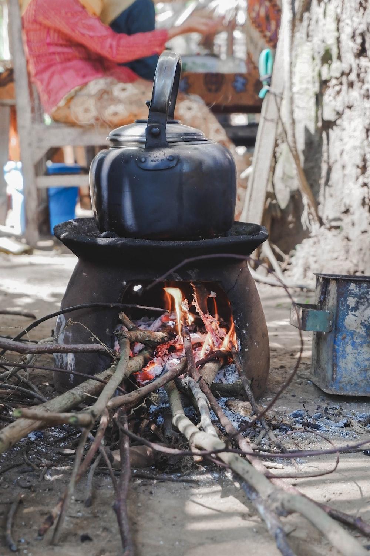 black kettle on burner