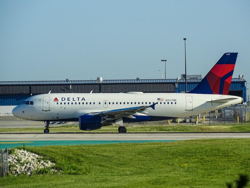 white Delta airliner