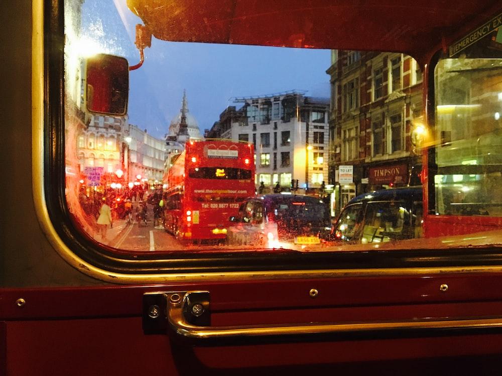 double decker bus on road