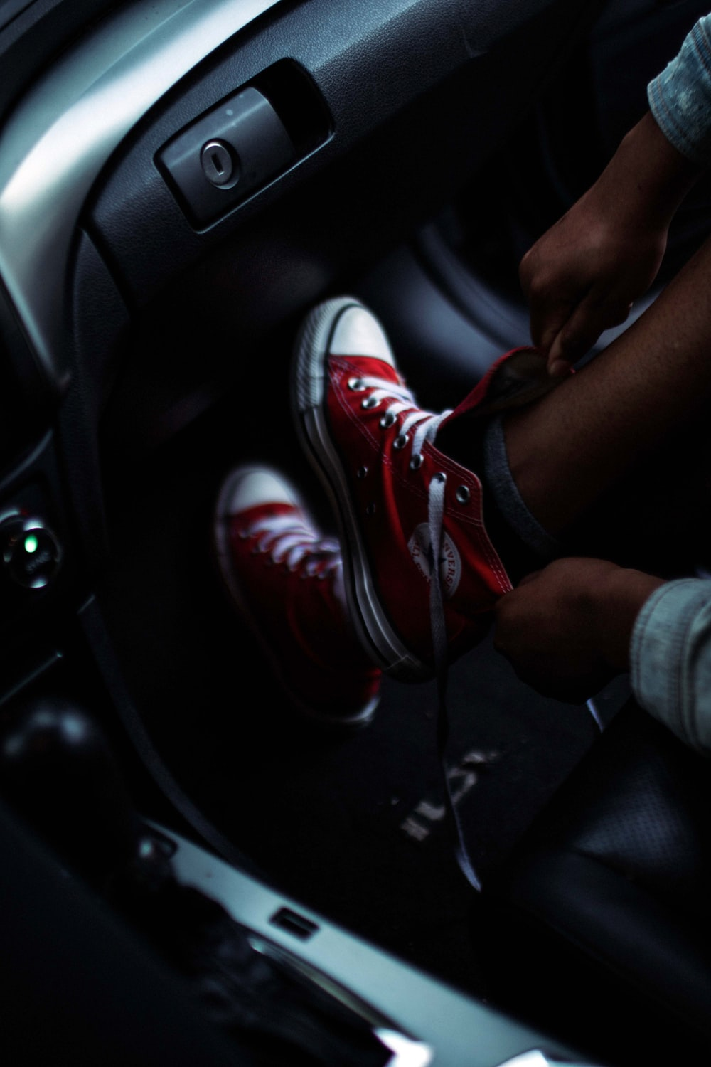 pair of red Converse All-Star high-top sneakers