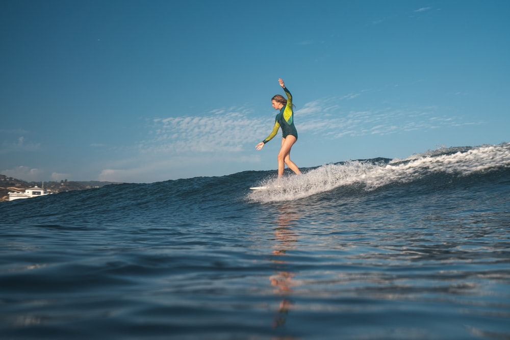 woman surfing