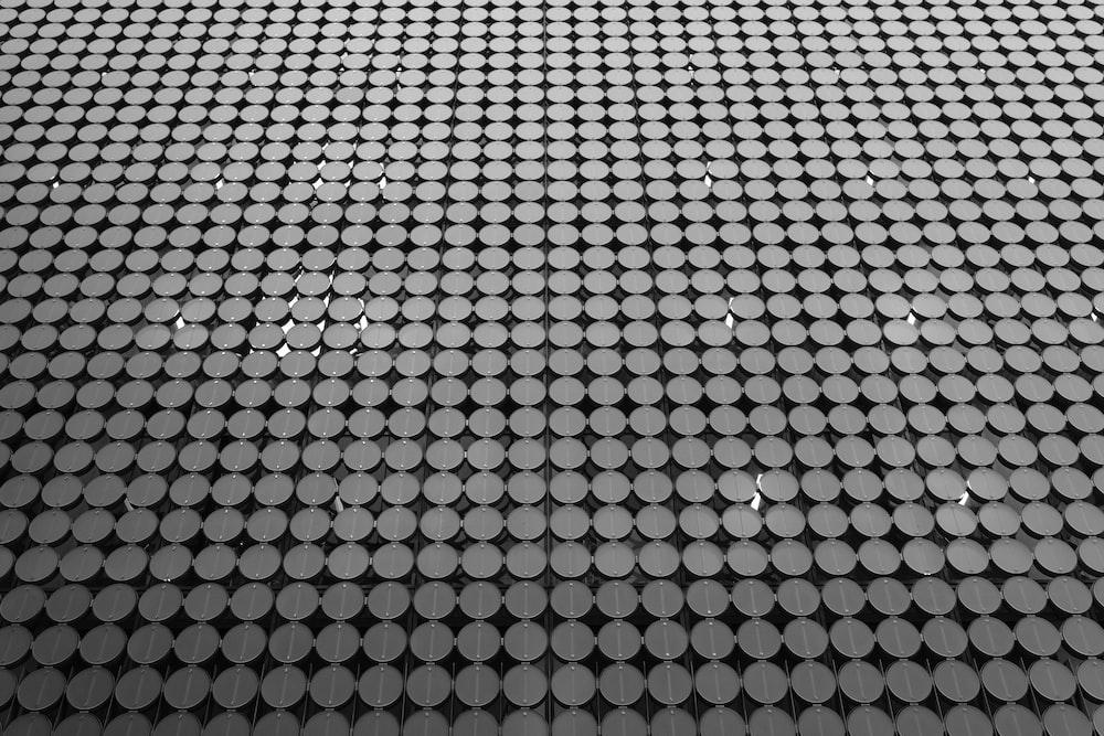 gray and black mesh-link wall decor