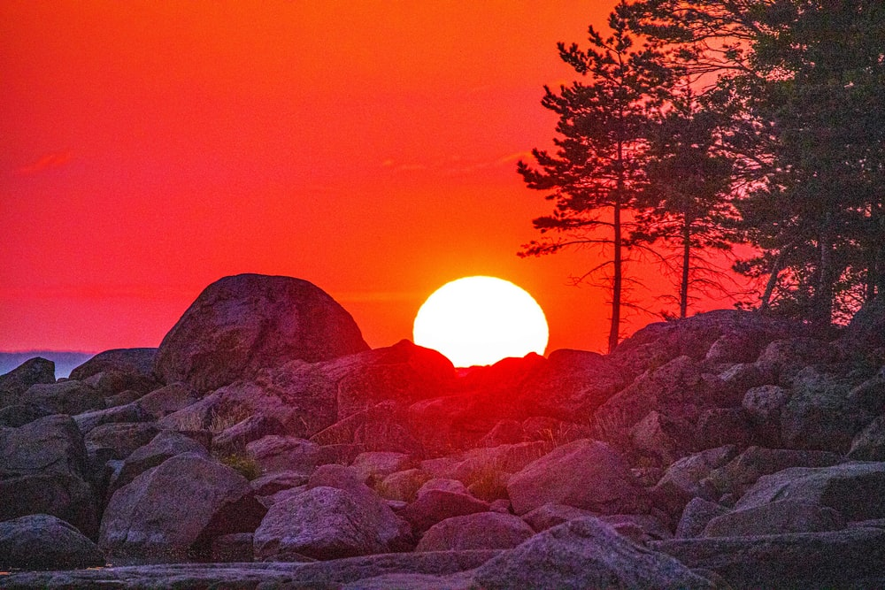 sunset from rocks at the shore