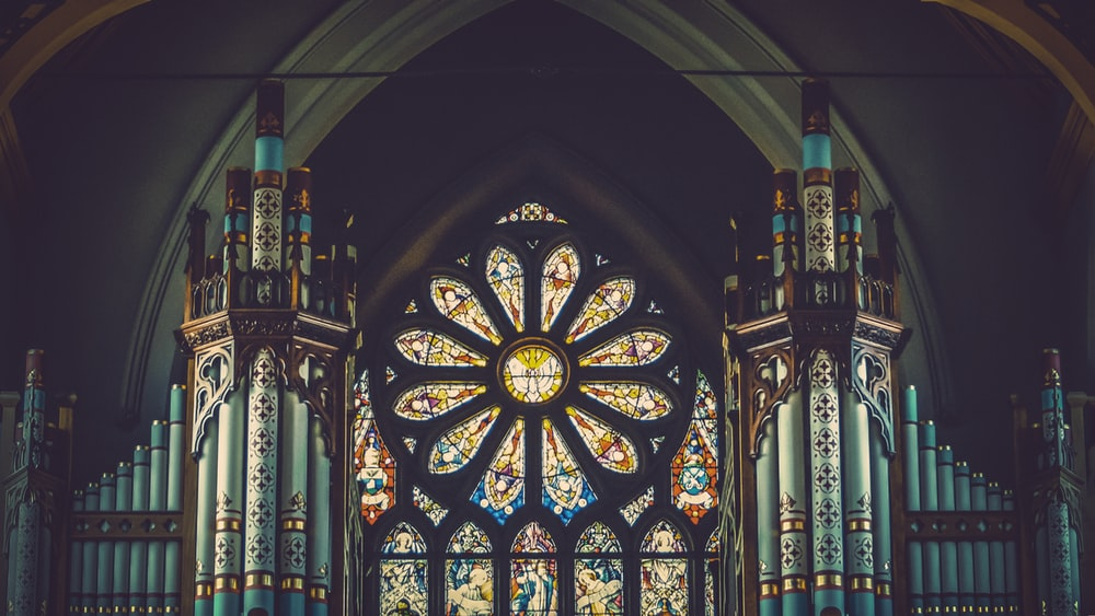 blue and multicolored inside church view