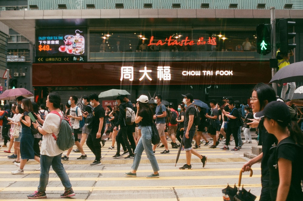 people walking on pedestrian lane