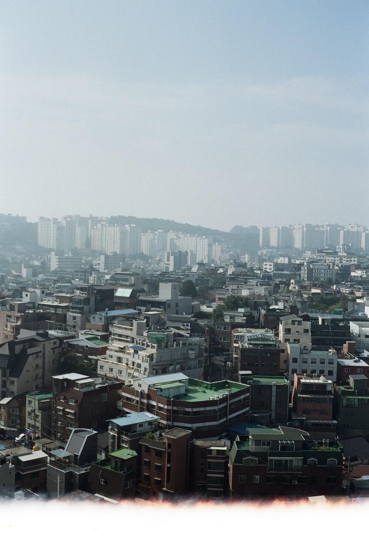 high-angle photo of city buildings