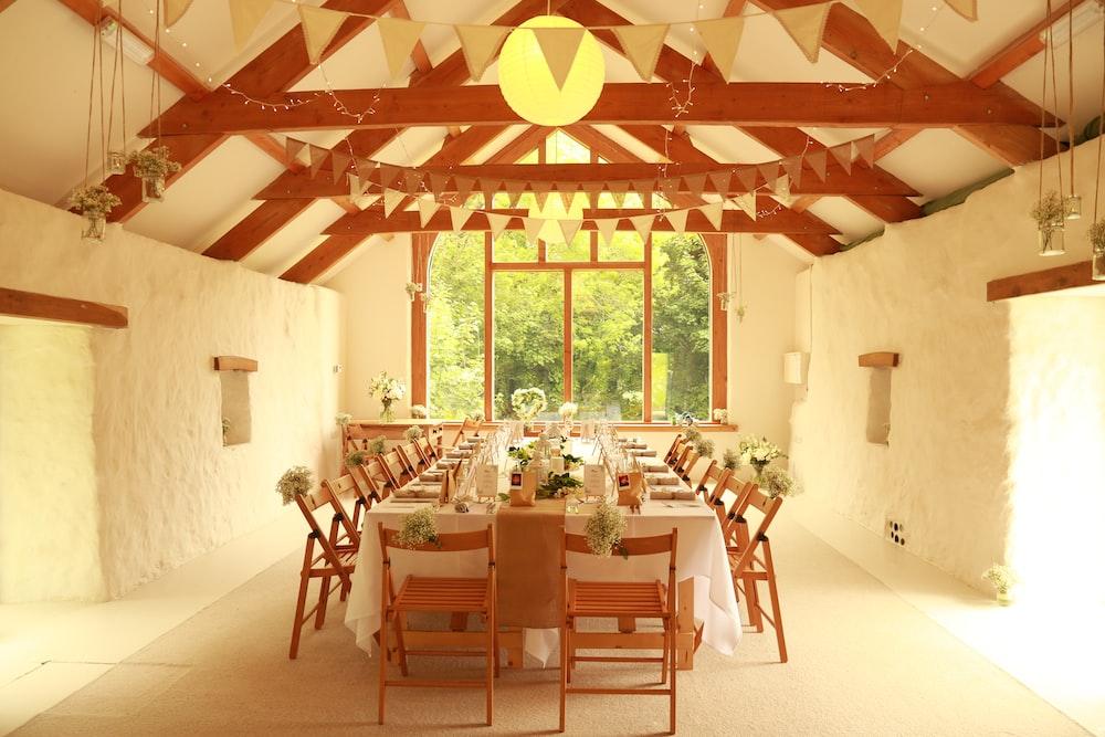 rectangular white and brown dining set