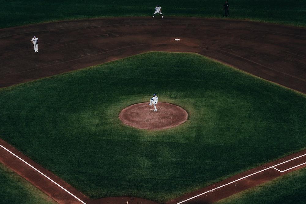 baseball field close-up photography
