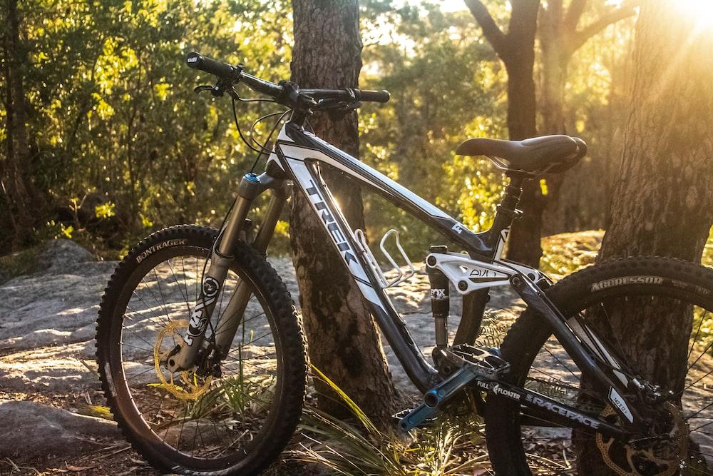 black and white Trek mountain bike