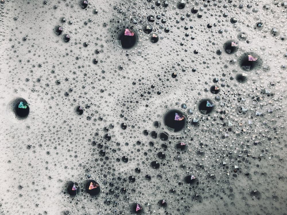 white bubbles and foam