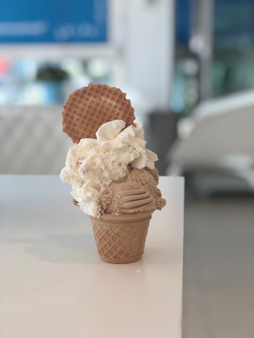 white and brown ice cream close-up photography
