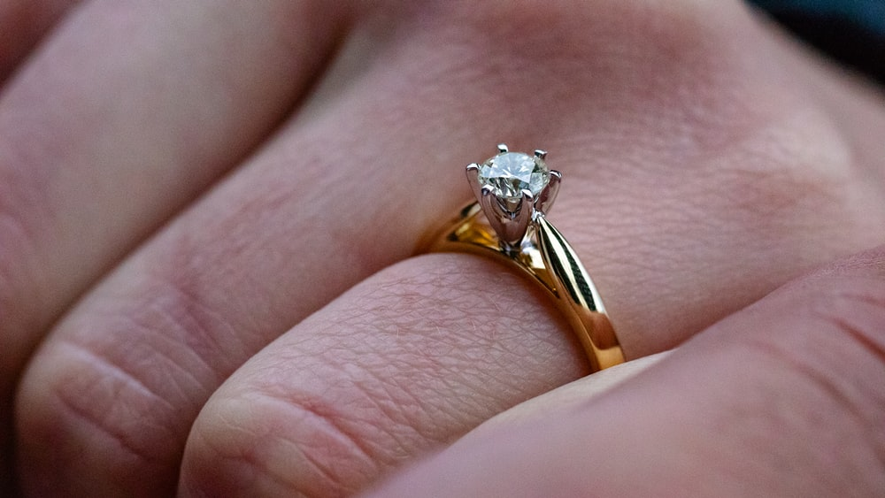 silver ring with solitaire diamond