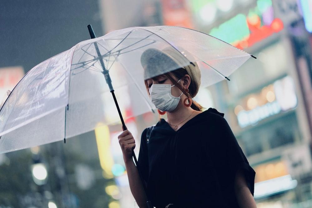 woman using clear silicon umbrella