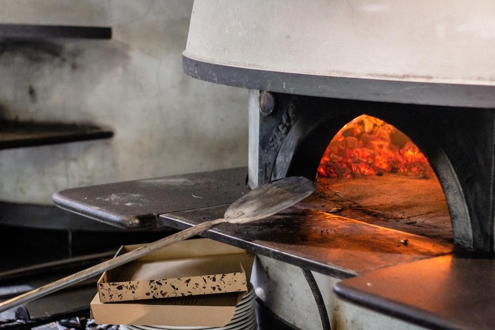 gray metal charcoal oven