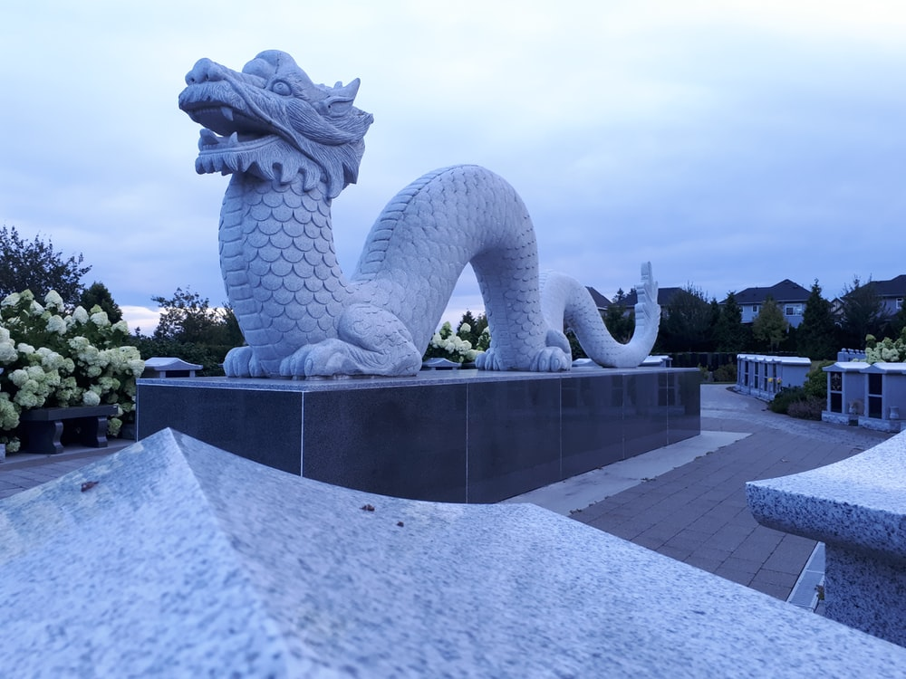 white dragon statue near flowers during day