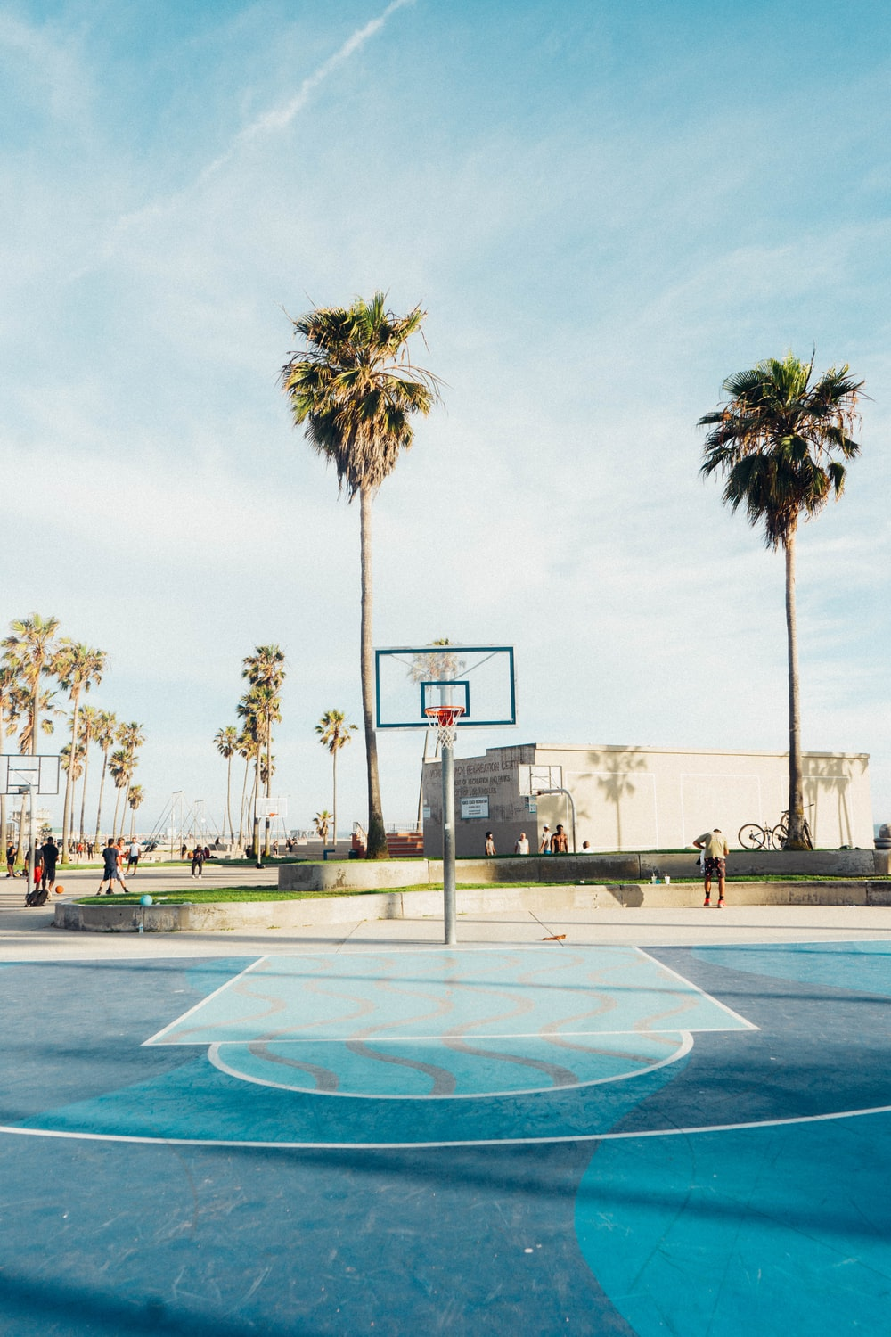 people outside outdoor basketball court