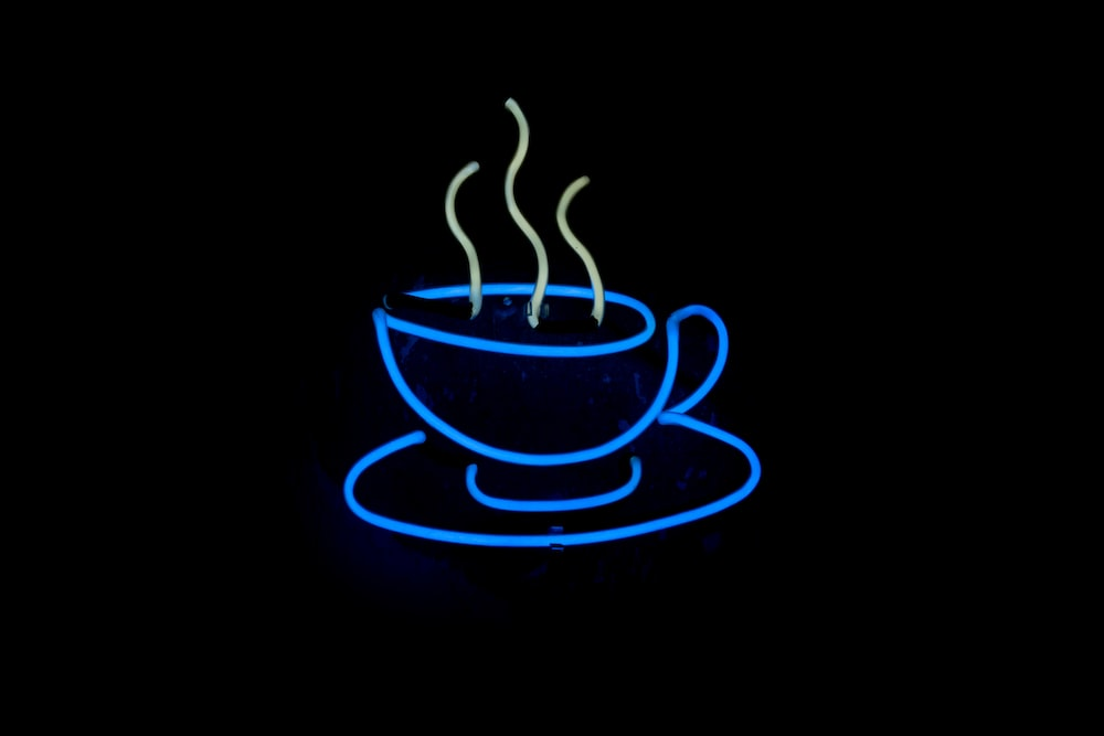 blue neon light coffee signage
