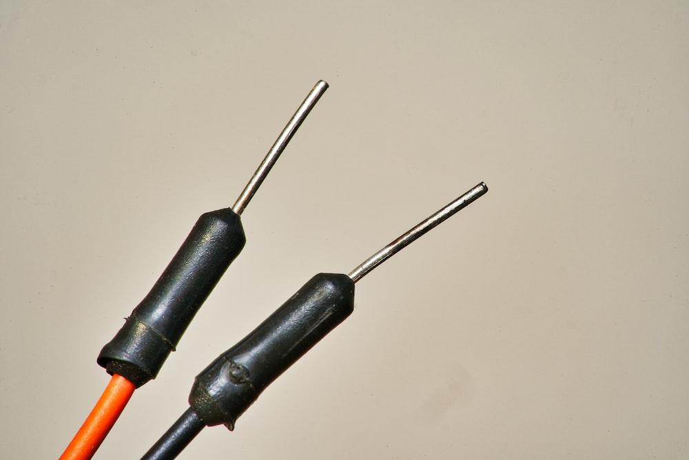 black and orange coated wire
