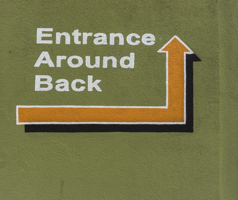 entrance around back signage