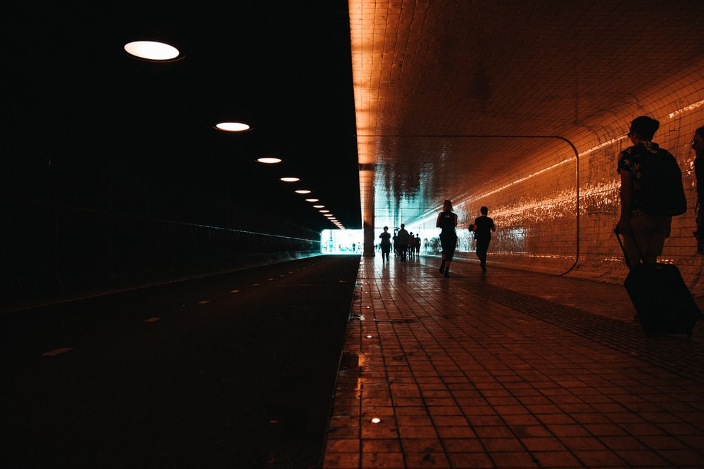 silhouette photography of people walking along train station