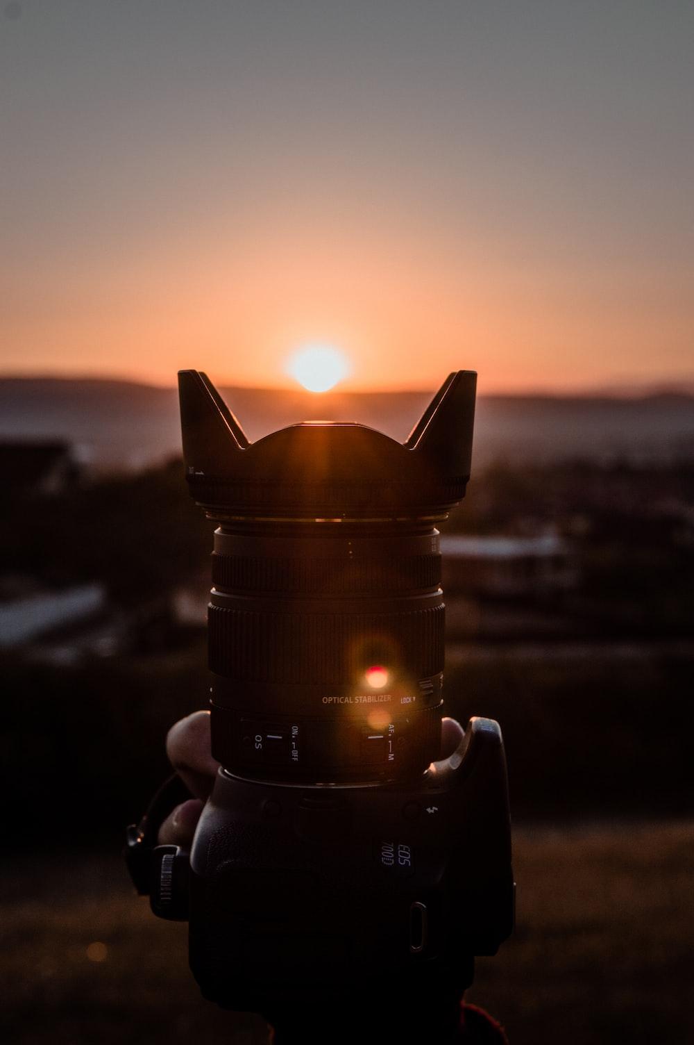 black camera close-up photography