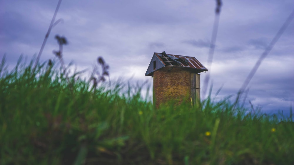 brown wooden shed on green field