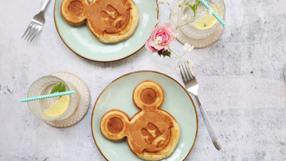 two Mickey Mouse pancakes