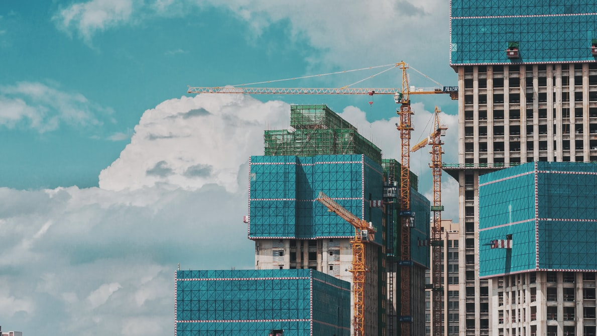 Construction site, skyscraper